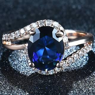 Prsteň Diana-Zlatá/Modrá/52mm