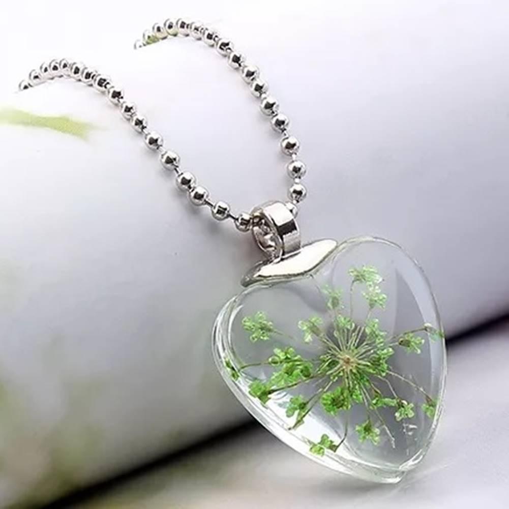 Izmael Náhrdelník Crystal Heart-Zelená
