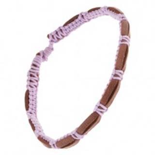 Tmavohnedý kožený náramok s fialovou zapletanou šnúrkou