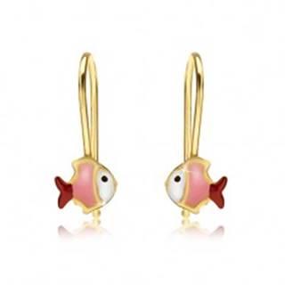Zlaté náušnice 375, bielo-ružovo-červená rybička, lesklý email