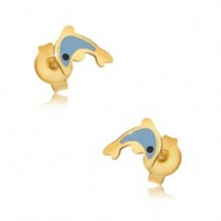 Zlaté náušnice 375 - glazúrovaný modrý delfín, lesklý hladký povrch