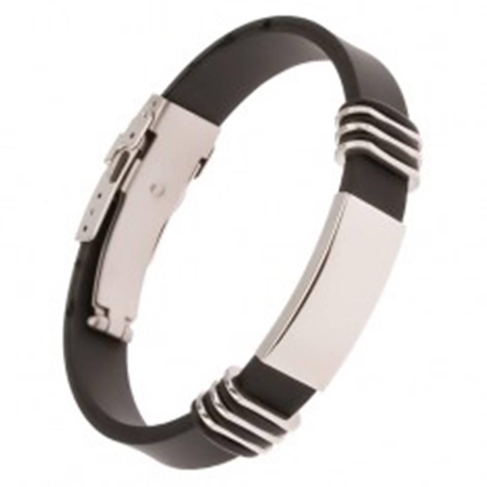 Šperky eshop Čierny gumený náramok s lesklou oceľovou známkou, 13 mm