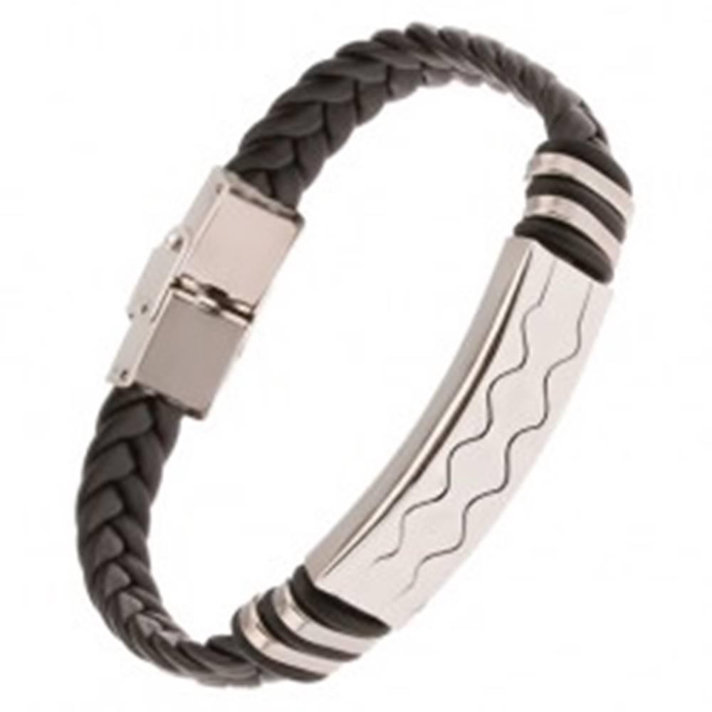 Šperky eshop Čierny gumený náramok - vrkočový remienok, známka s vlnkami