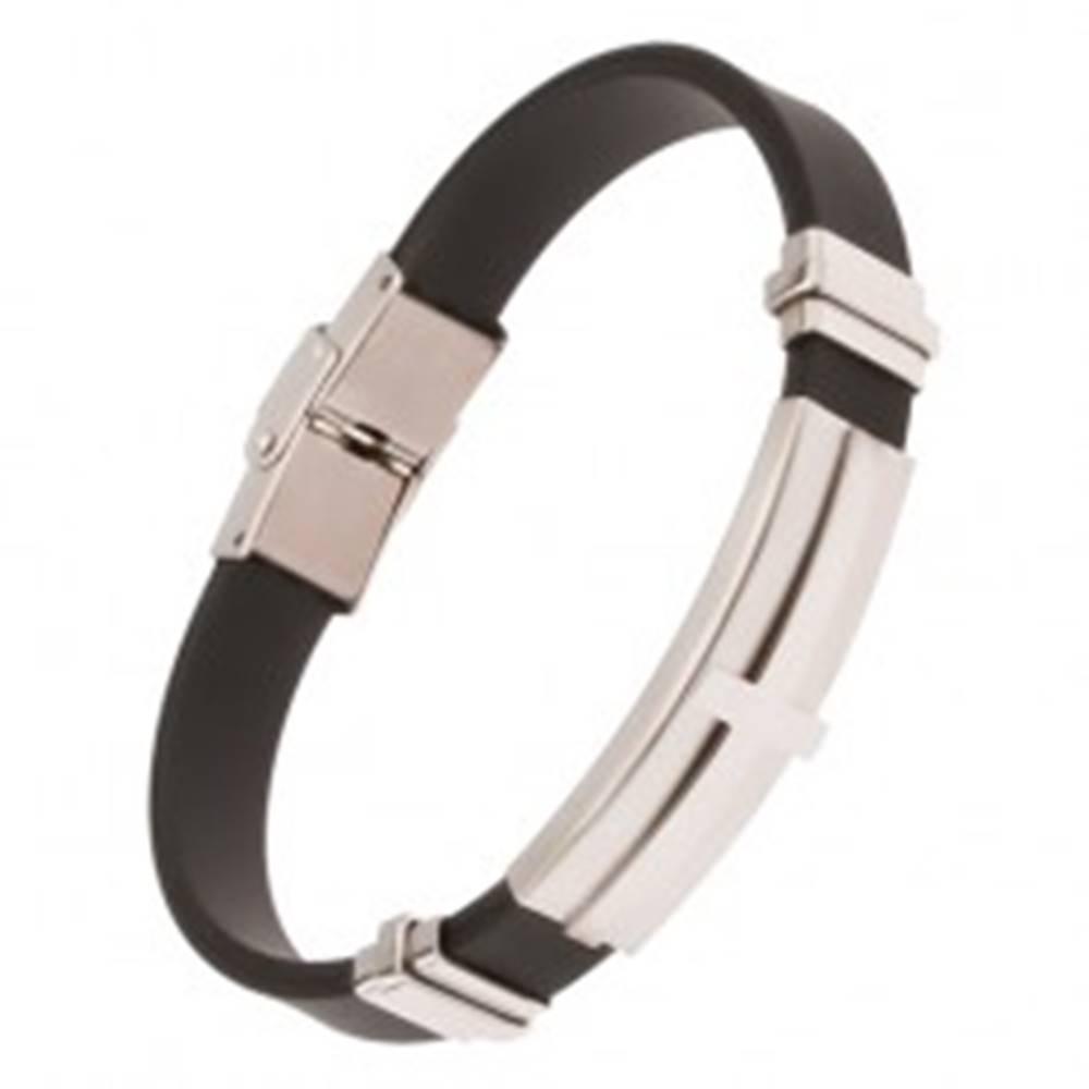 Šperky eshop Náramok na ruku, čierny gumený pás, oceľová známka s krížom