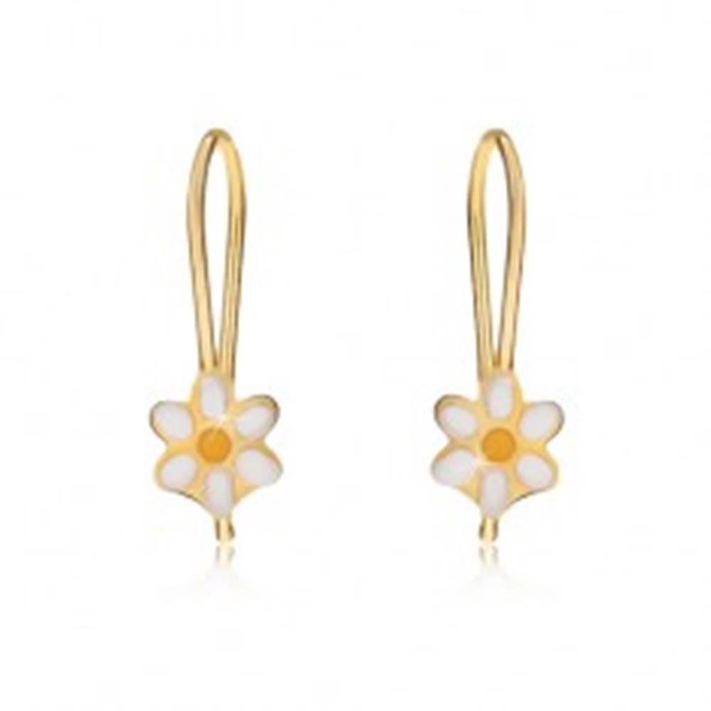 Šperky eshop Náušnice zo žltého 9K zlata, ploché glazúrované margarétky