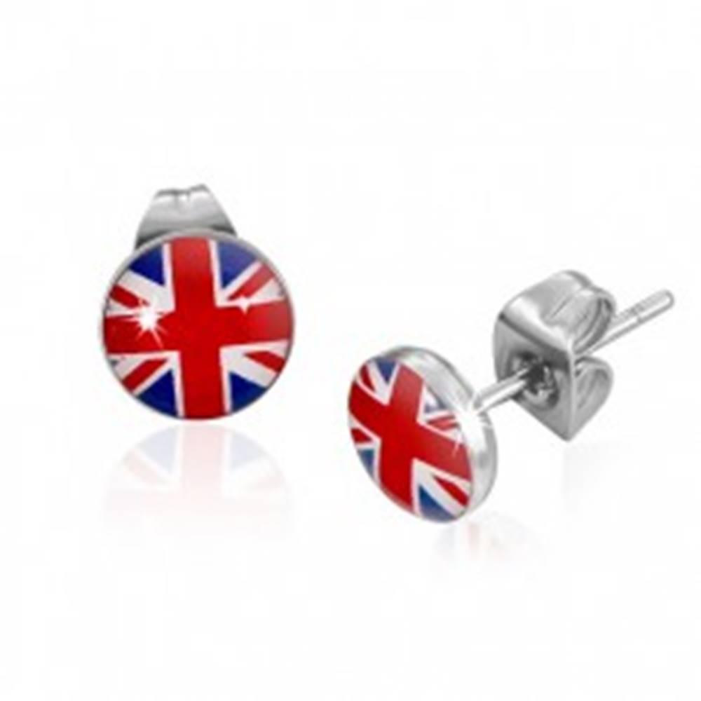 Šperky eshop Okrúhle puzetové náušnice z ocele, britská vlajka