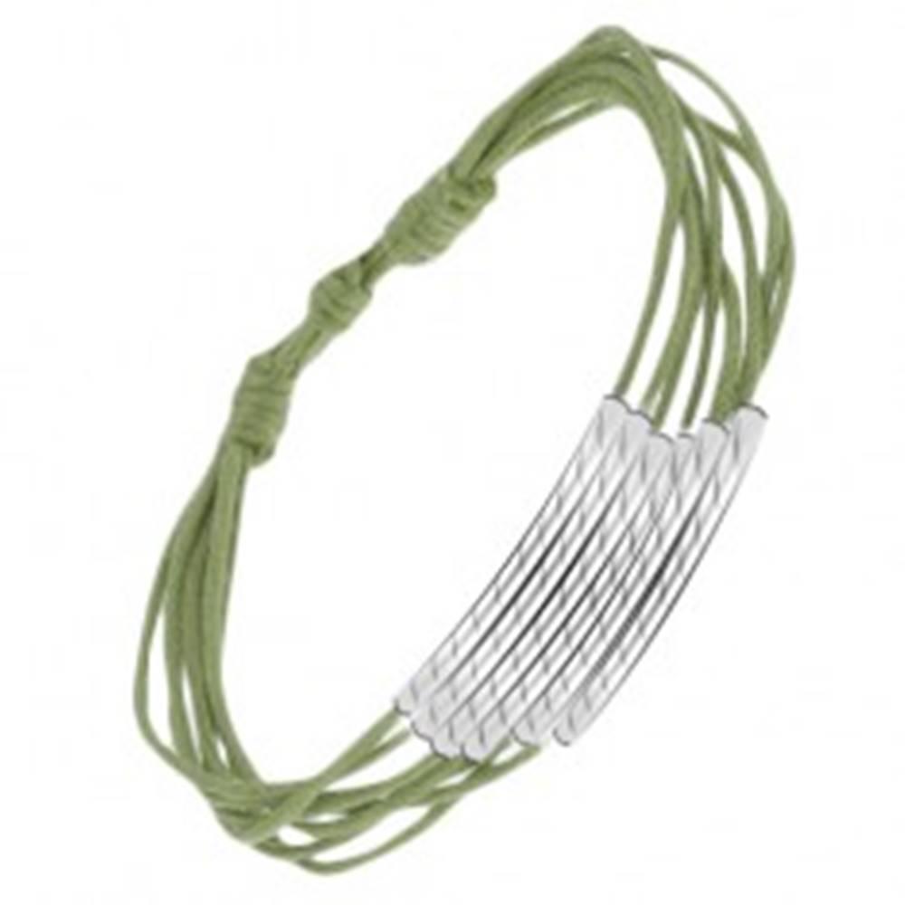 Šperky eshop Zelený šnúrkový multináramok s ryhovanými valčekmi