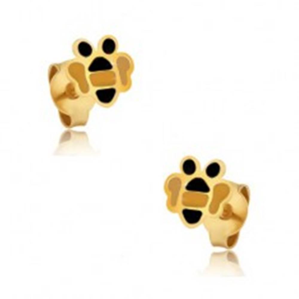 Šperky eshop Zlaté náušnice 375 - drobné ploché včeličky, farebná glazúra