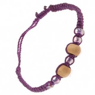 Fialový náramok zo šnúrok, drevené béžové guľôčky, korálky