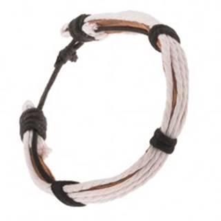 Kožený náramok - svetlohnedý pruh, biele a čierne šnúrky