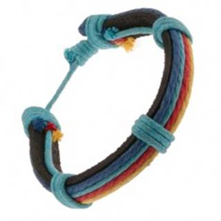 Náramok z kože - čierny pruh, rôznofarebné motúziky, modrá šnúrka