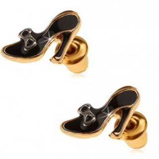 Náušnice zlatej farby, čierne glazúrované dámske lodičky s mašličkou