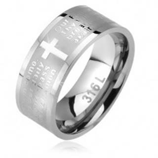 Prsteň z ocele, matný pás s lesklým krížom a modlitbou Otčenáš - Veľkosť: 52 mm