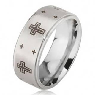 Prsteň z ocele - strieborná farba, obrúčka s matným stredom, potlač kríža  - Veľkosť: 52 mm