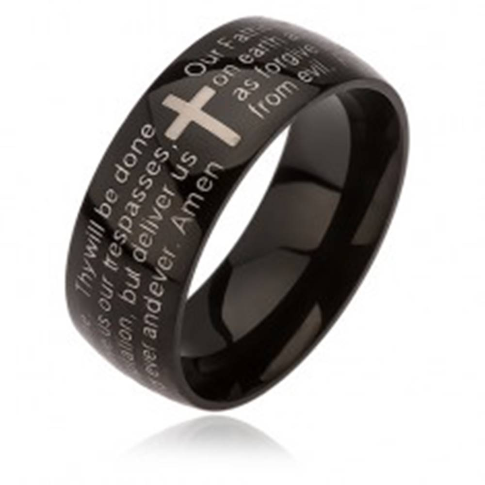 Šperky eshop Čierny prsteň z ocele, kríž striebornej farby, modlitba Otčenáš - Veľkosť: 52 mm