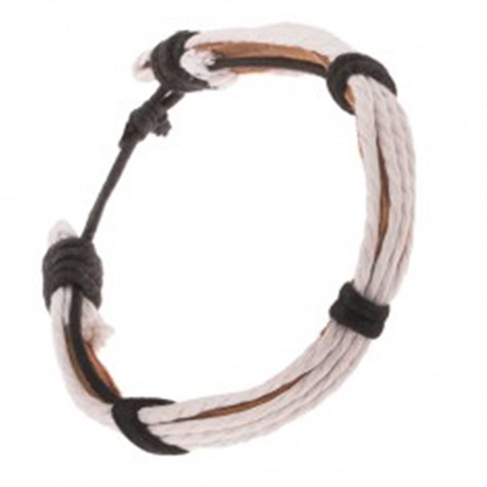 Šperky eshop Kožený náramok - svetlohnedý pruh, biele a čierne šnúrky