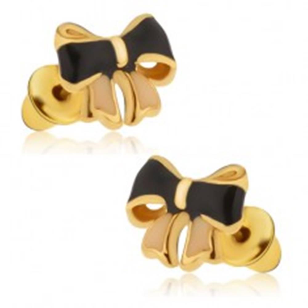 Šperky eshop Lesklé náušnice - glazúrované čiernoružové mašličky