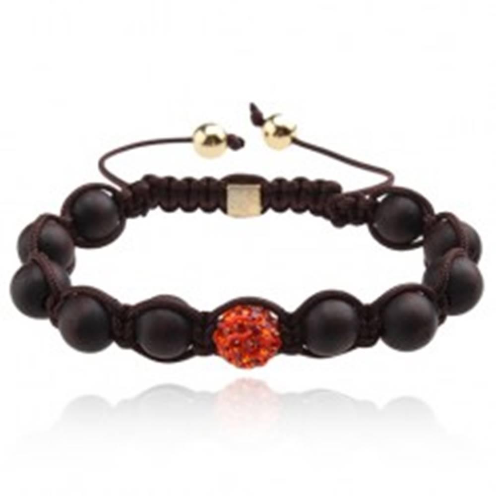 Šperky eshop Náramok Shamballa, čokoládovohnedé korálky, oranžová zirkónová guľôčka