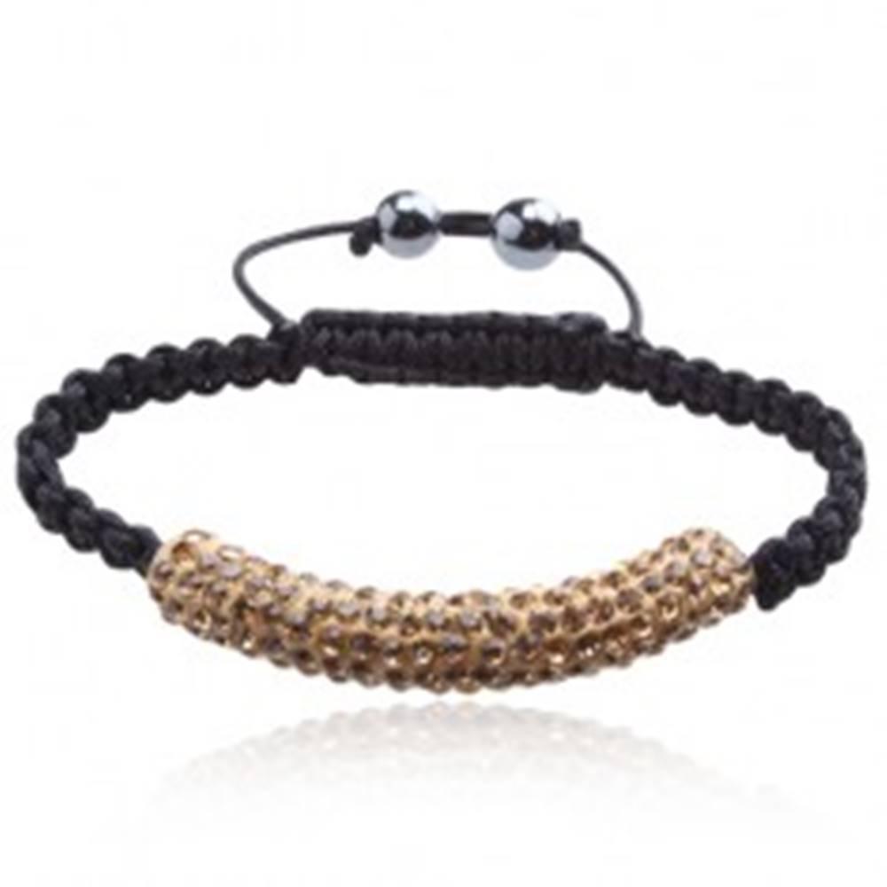 Šperky eshop Náramok Shamballa, hnedožltý valček s kamienkami, čierna šnúrka