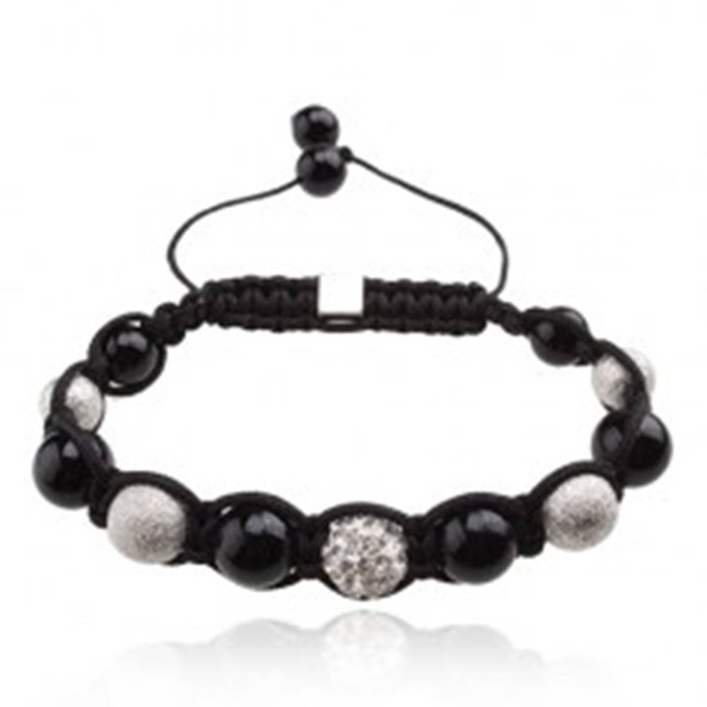 Šperky eshop Náramok Shamballa, korálky v čiernej a striebornej farbe, číra zirkónová gulička