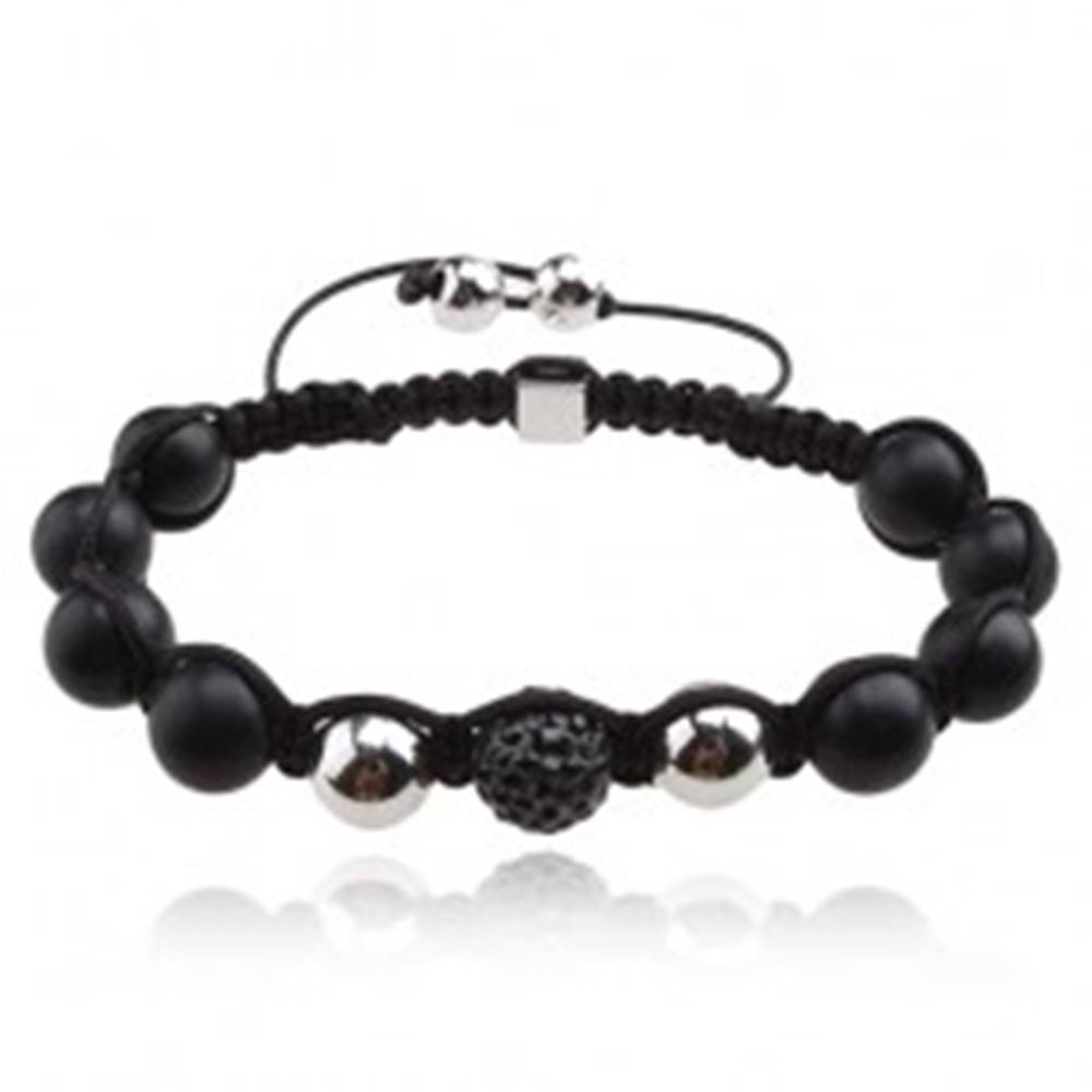 Šperky eshop Náramok Shamballa, šedá zirkónová gulička, matné čierne korálky