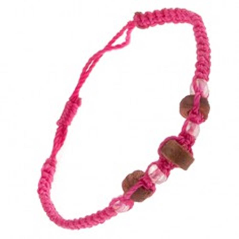Šperky eshop Náramok z ružových šnúrok, drevené valčeky a priehľadné korálky