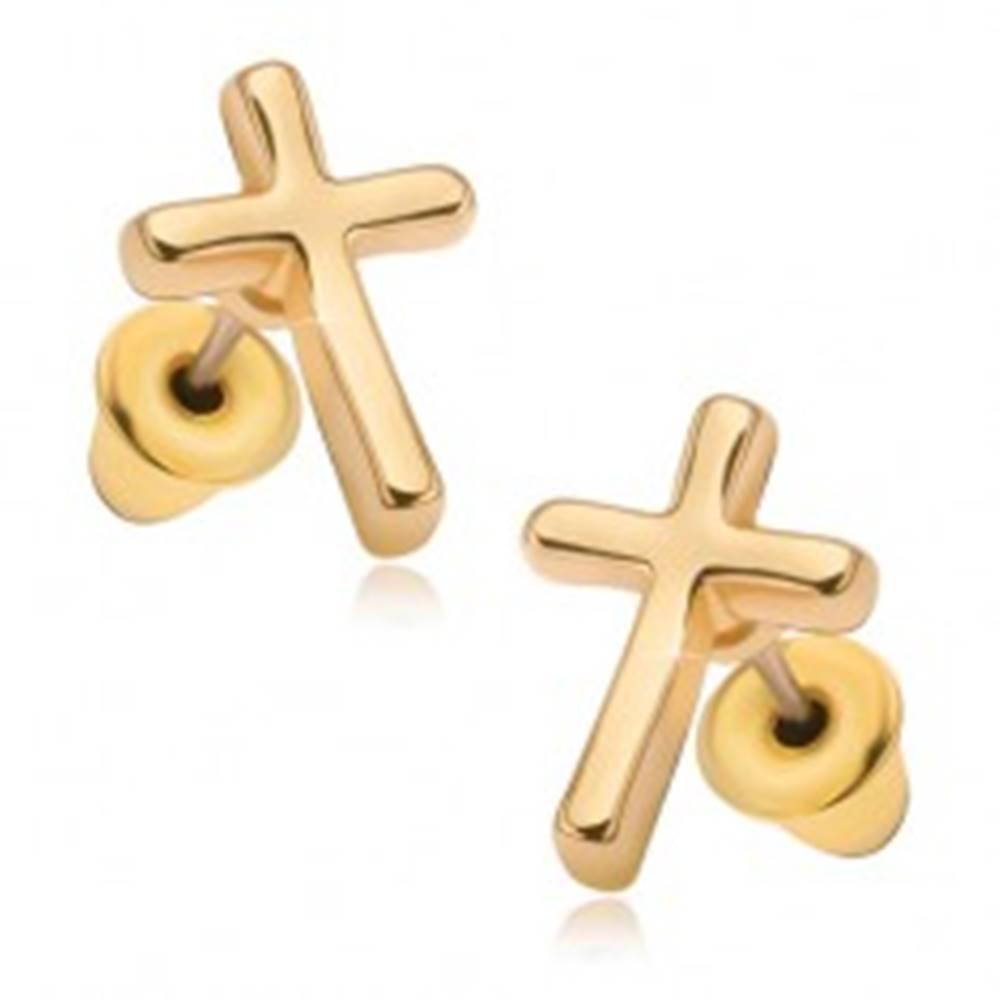 Šperky eshop Náušnice s lesklým povrchom v zlatej farbe, latinský kríž