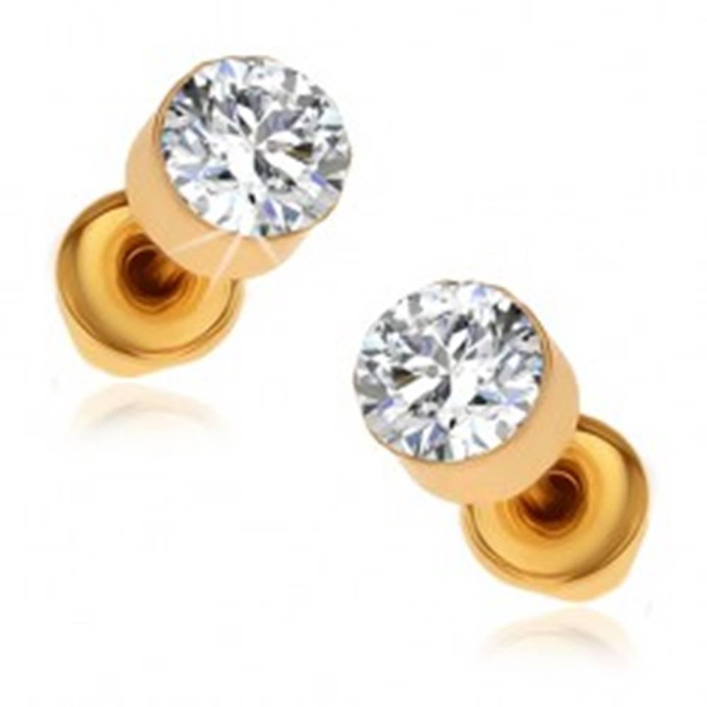 Šperky eshop Náušnice v zlatom odtieni, okrúhle číre kamienky v lesklej objímke