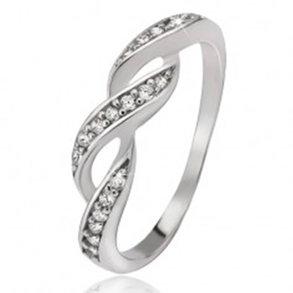 Šperky eshop Prsteň zo striebra 925, zirkónové vlnky - Veľkosť: 44 mm
