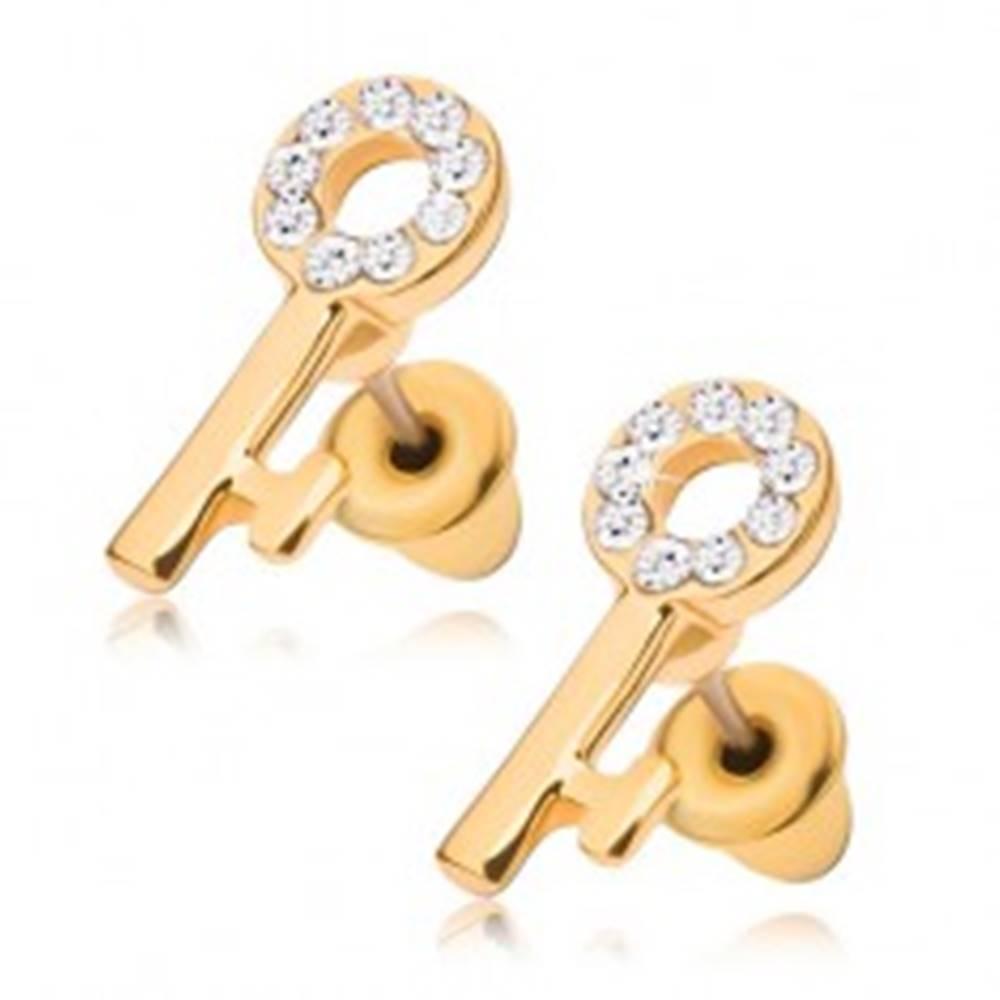 Šperky eshop Puzetové náušnice, kľúč zlatej farby s čírymi kamienkami