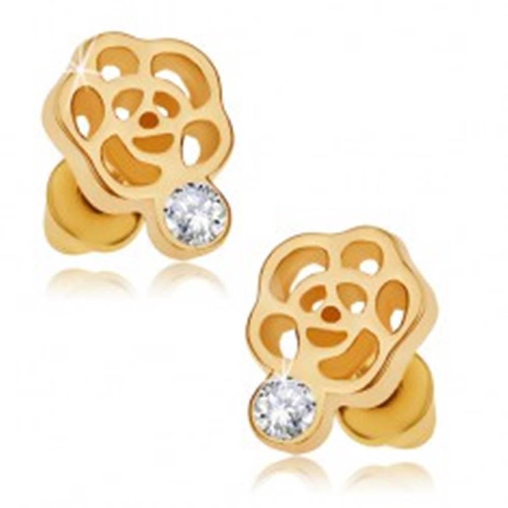 Šperky eshop Puzetové náušnice zlatej farby, obrys kvetu, číry zirkón