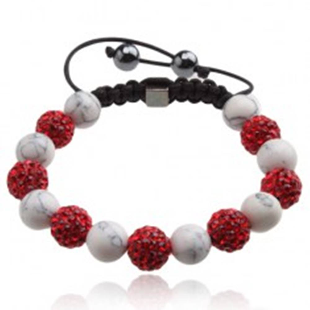 Šperky eshop Shamballa náramok, červené zirkónové guličky, mramorové korálky