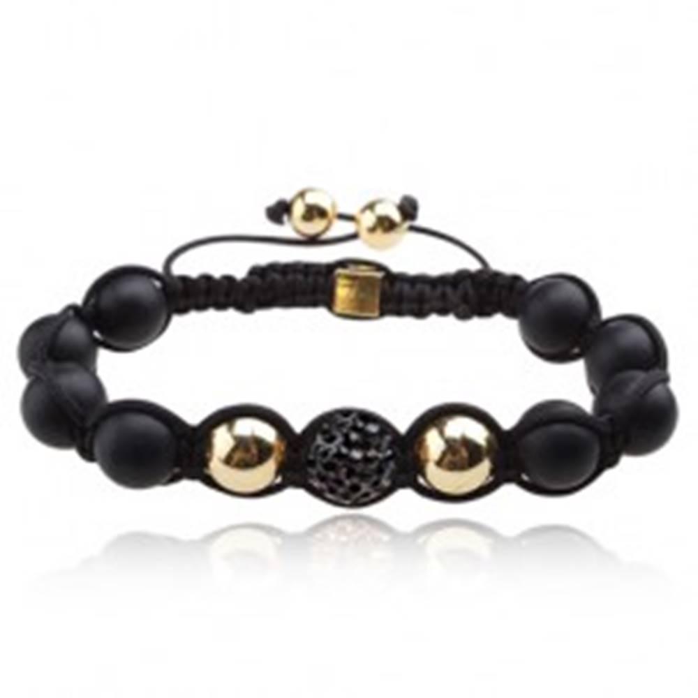 Šperky eshop Shamballa náramok - matné čierne korálky, oceľovosivá zirkónová guľôčka