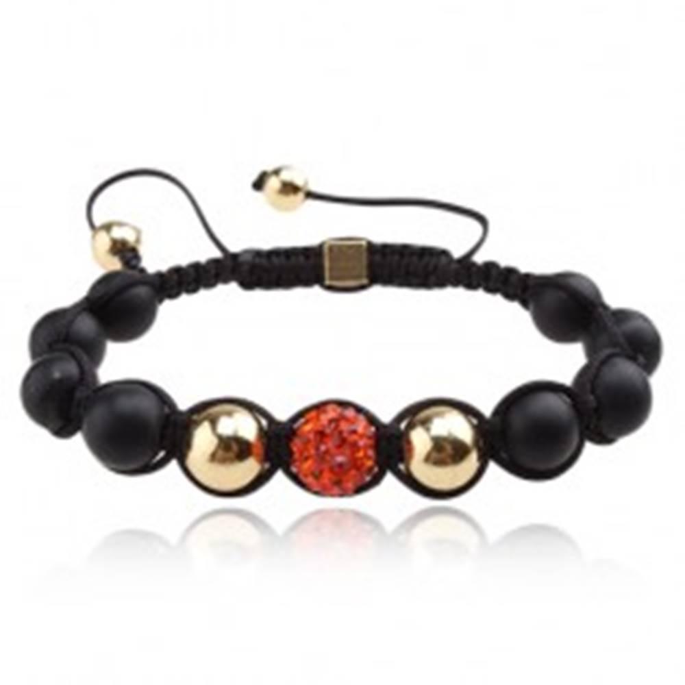 Šperky eshop Shamballa náramok - oranžová gulička so zirkónmi, čierne korálky