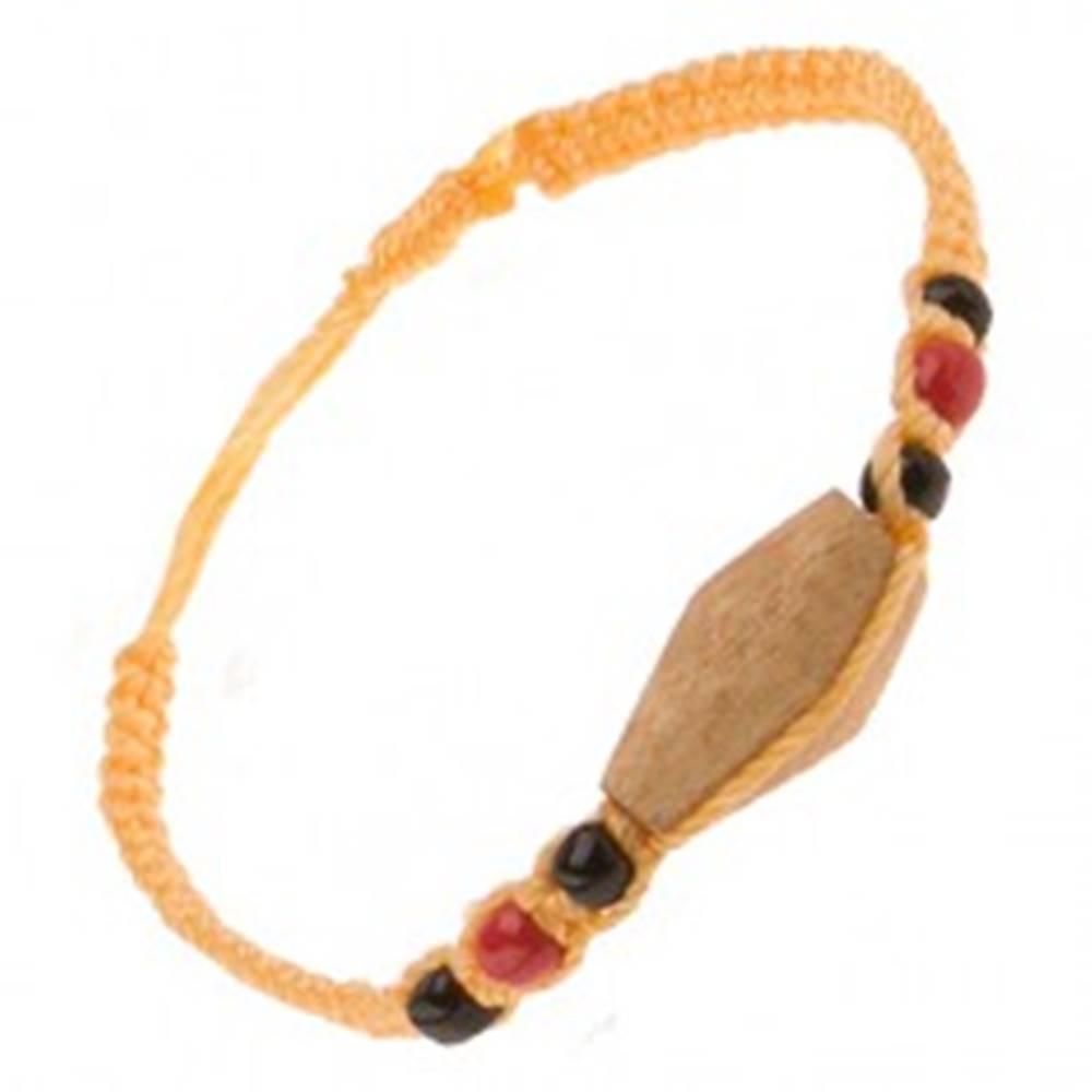 Šperky eshop Šnúrkový náramok žltej farby, drevený valček, farebné korálky