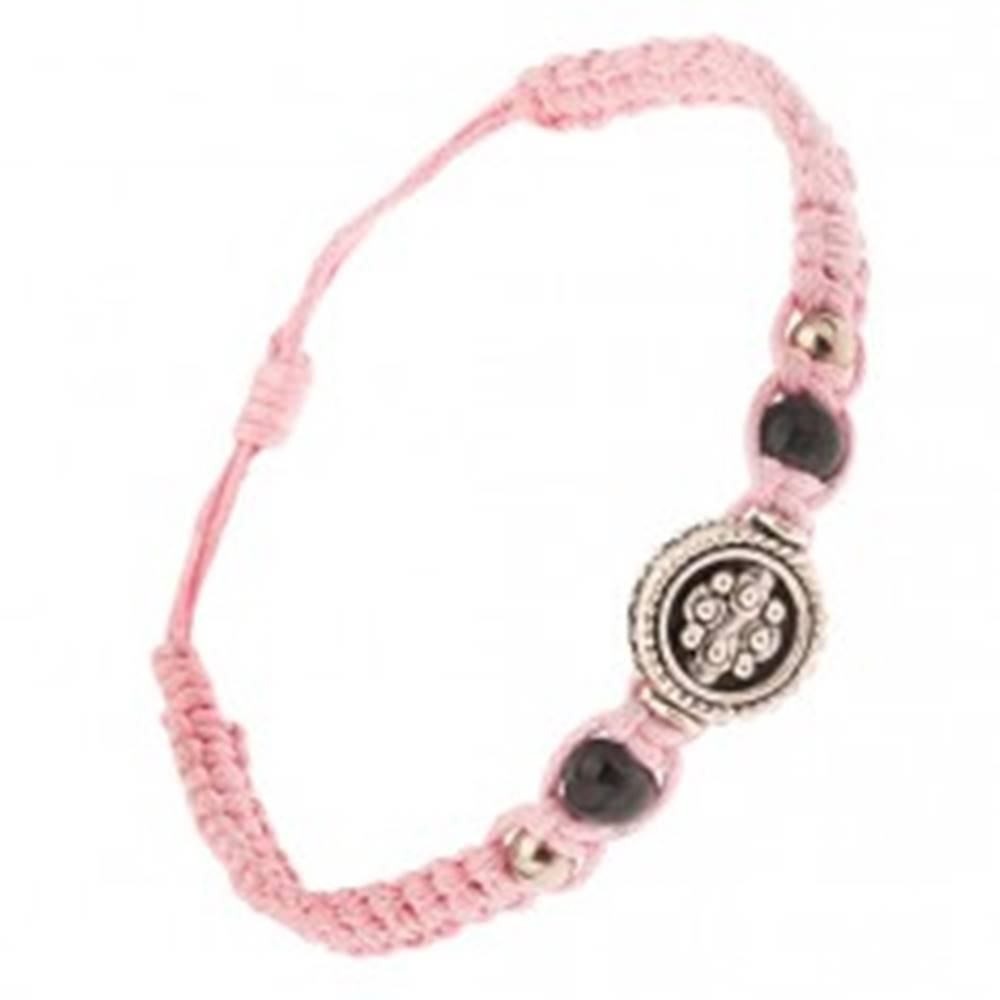 Šperky eshop Svetloružový náramok zo šnúrok, kruhová ozdoba s guličkovým vzorom