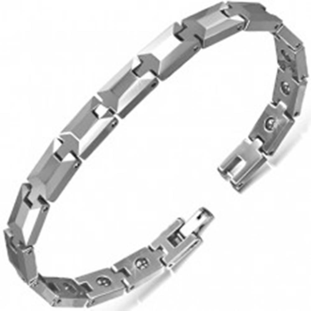 Šperky eshop Wolfrámový náramok striebornej farby, brúsené obdĺžnikové články