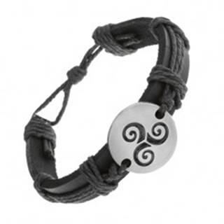 Náramok z čiernej syntetickej kože a šnúrok, kruh s čiernou špirálou Tribal