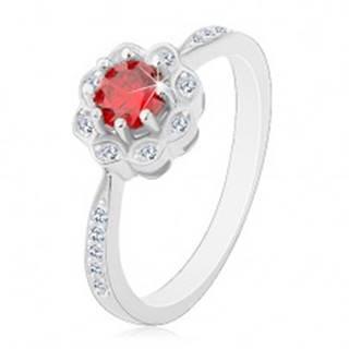 Strieborný ródiovaný prsteň 925, ligotavý kvietok s červeno-oranžovým zirkónom - Veľkosť: 48 mm