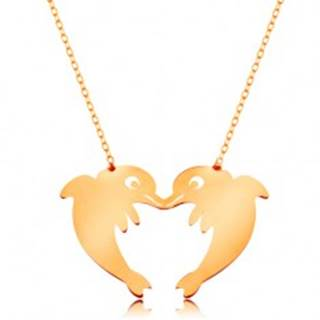 Zlatý 14K náhrdelník - jemná retiazka, dva delfíny tvoriace obrys srdca