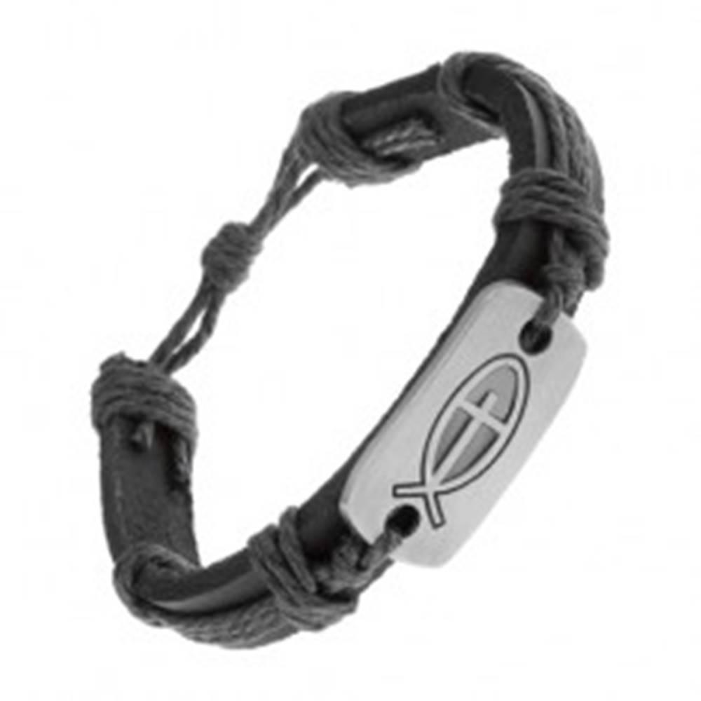 Šperky eshop Čierny náramok zo syntetickej kože a šnúrok, lesklá známka - rybka s krížom