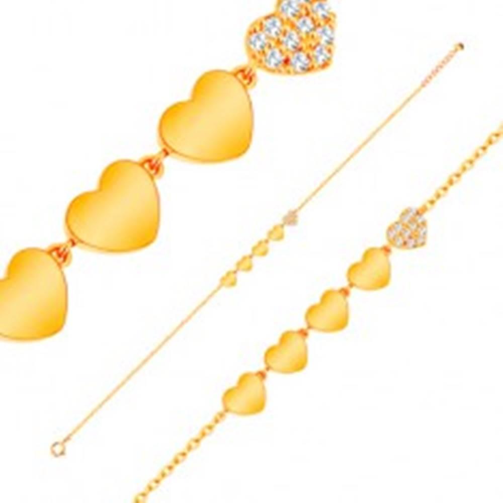 Šperky eshop Ligotavý zlatý 14K náramok - línia piatich srdiečok, retiazka z oválnych očiek