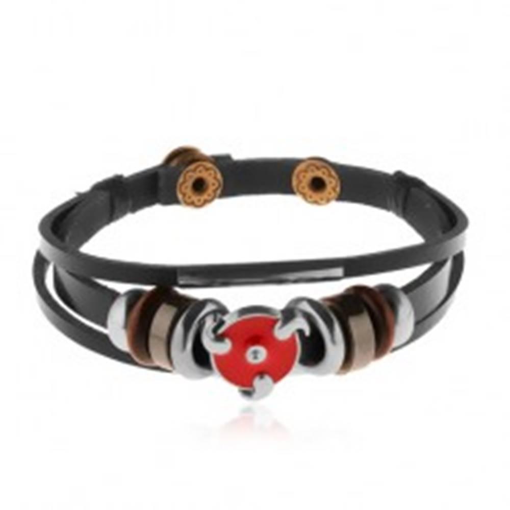 Šperky eshop Multináramok z umelej kože, oceľové a drevené korálky, červený glazúrovaný kruh