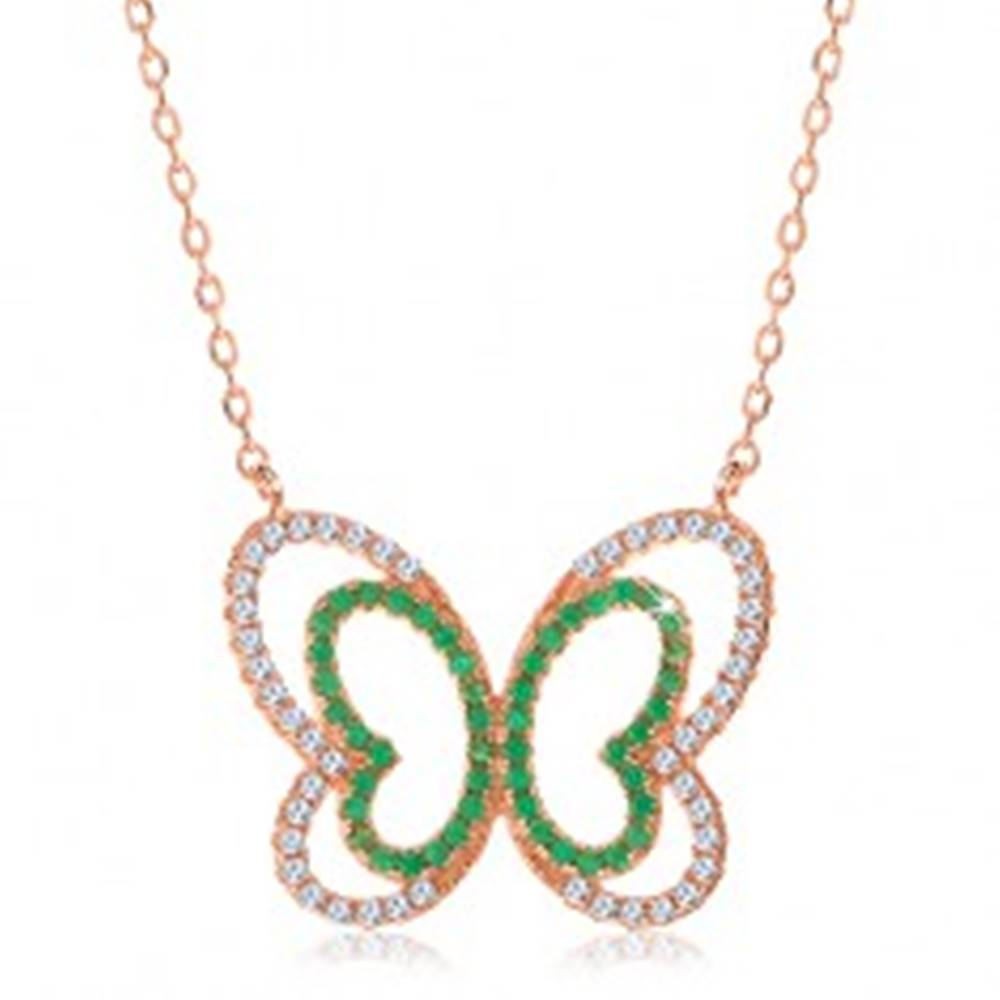 Šperky eshop Náhrdelník zo striebra 925, medený odtieň, trblietavá zeleno-číra kontúra motýľa