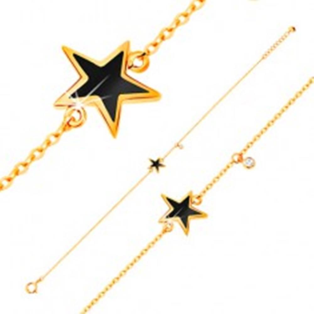 Šperky eshop Náramok v žltom zlate 585 - čierna glazúrovaná hviezdička, zirkón čírej farby