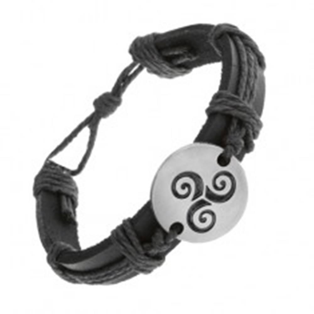 Šperky eshop Náramok z čiernej syntetickej kože a šnúrok, kruh s čiernou špirálou Tribal