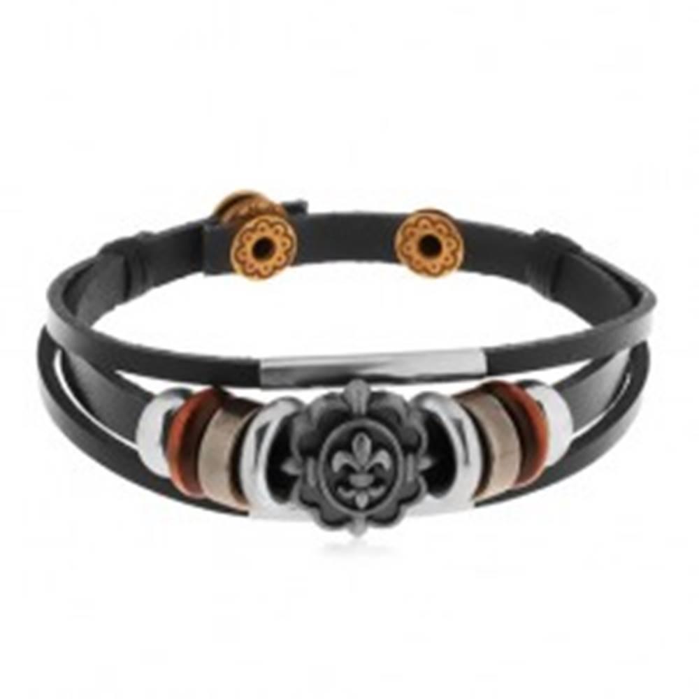 Šperky eshop Náramok z čiernych pásov syntetickej kože, korálky z kovu a dreva, Fleur de Lis