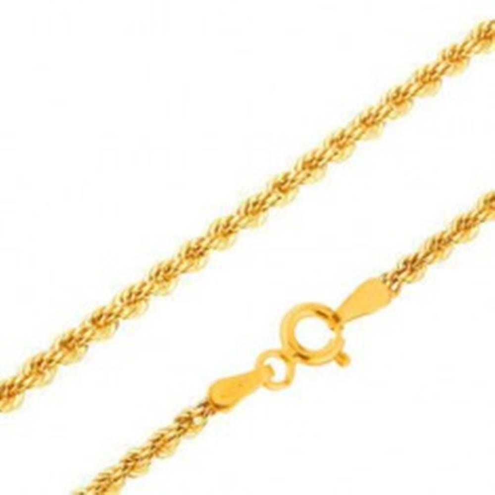 Šperky eshop Retiazka v žltom 14K zlate - husto prepojené očká do špirály, 420 mm