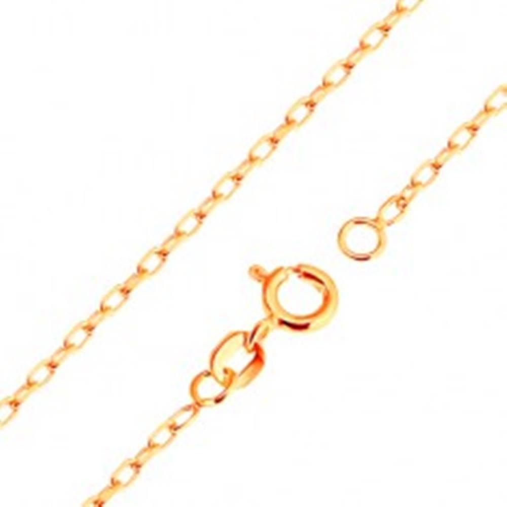 Šperky eshop Retiazka v žltom 9K zlate - hladké oválne očká, vzor Rolo, 500 mm