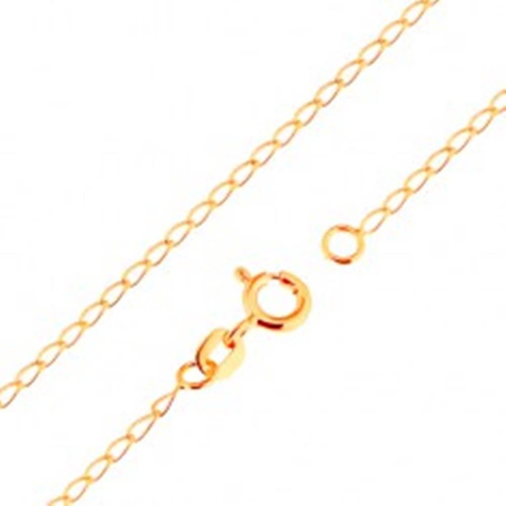 Šperky eshop Retiazka zo žltého 18K zlata - lesklé ploché oválne očká, 500 mm